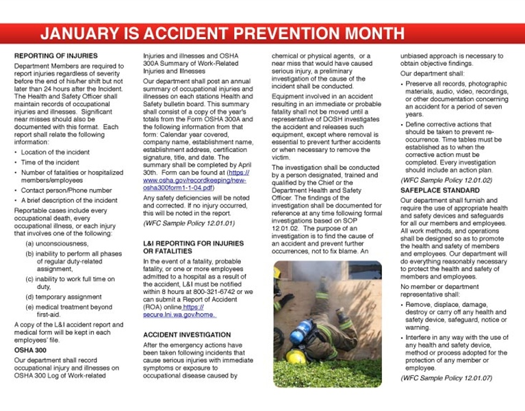 WFC Calendar - January Accident Prevention