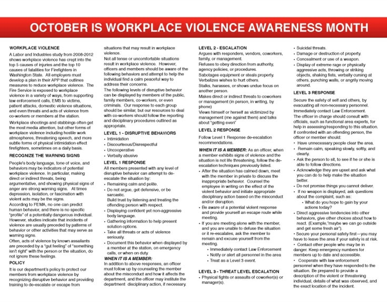 WFC Calendar - October Workplace Violence