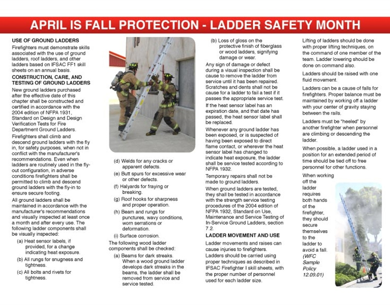 WFC Calendar - April Fall Protection