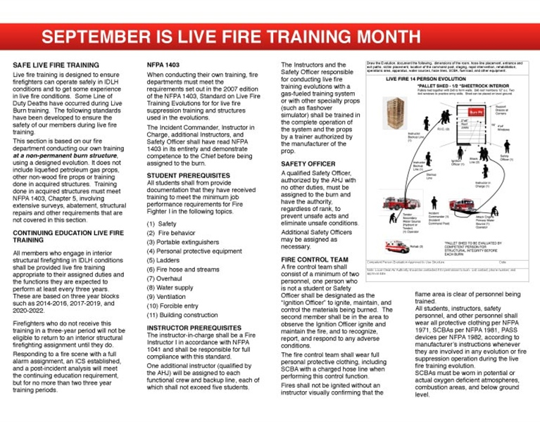 WFC Calendar - September Live Fire
